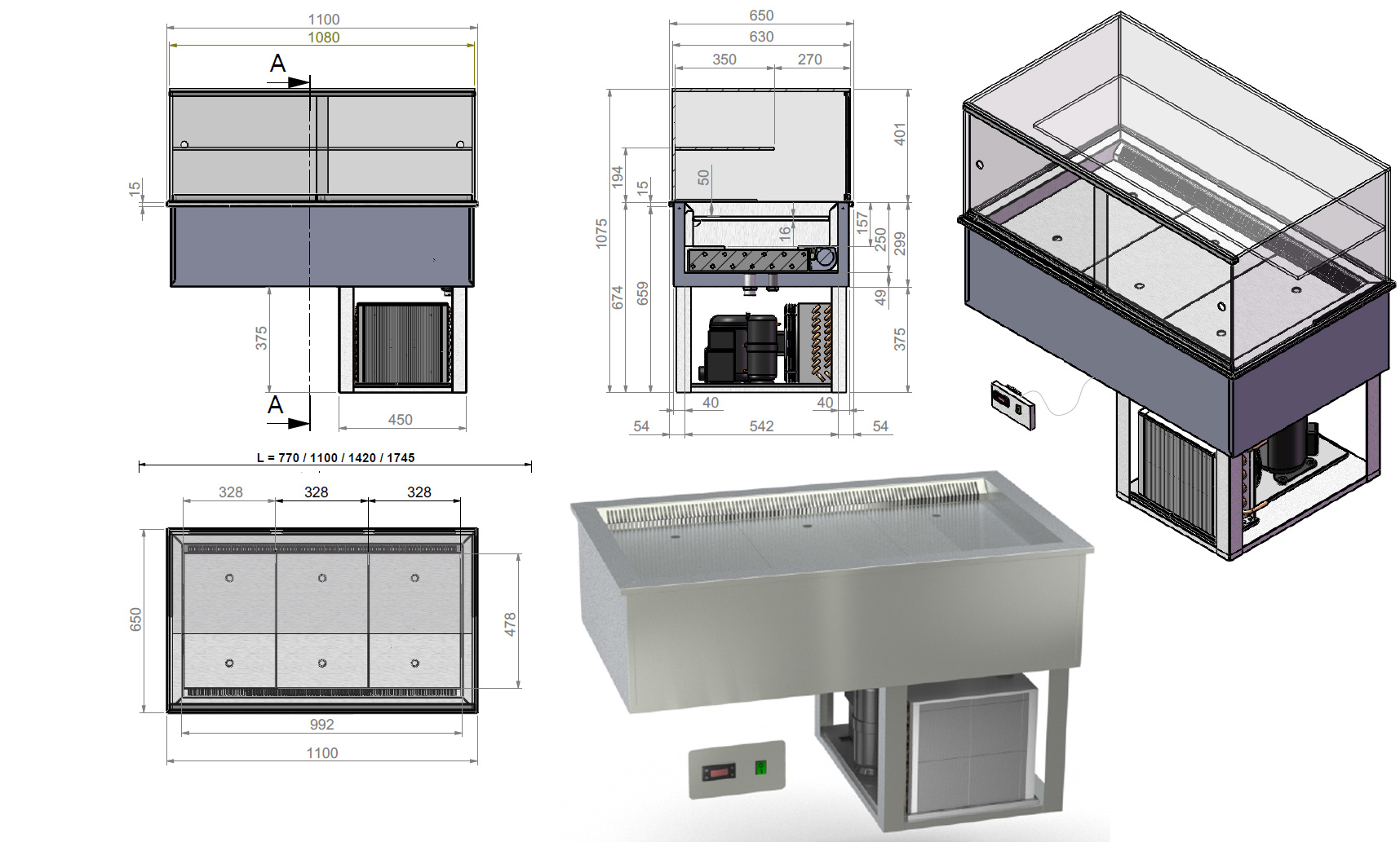vitrine r frig r e encastrable sur mesure comptoir ventil extra plat. Black Bedroom Furniture Sets. Home Design Ideas